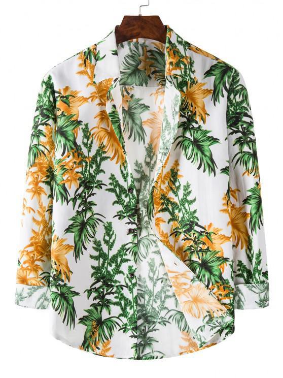 Long Sleeve Tropical Leaves Print Shirt - أبيض 3XL