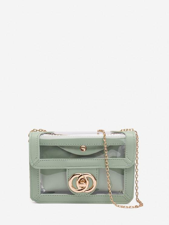 women Transparent Chain Crossbody Bag - DARK SEA GREEN