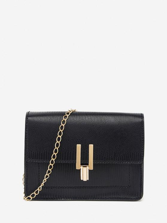 ladies Rectangle Chain Cover Crossbody Bag - BLACK