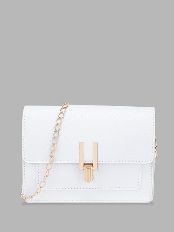 lady Rectangle Chain Cover Crossbody Bag - WHITE