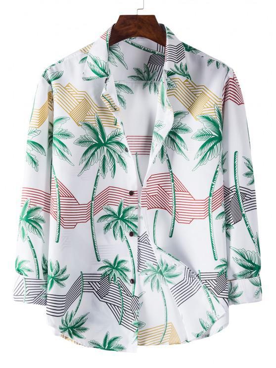 chic Long Sleeve Palm Tree Striped Print Shirt - WHITE L