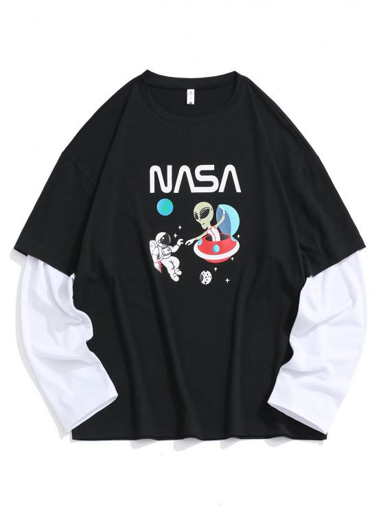 best ET Astronaut Planet Faux Twinset T-shirt - BLACK XS