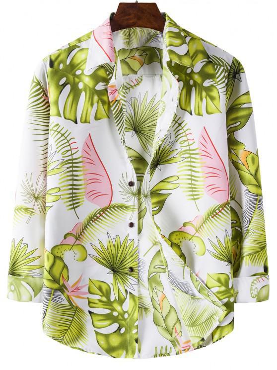 new Tropical Leaves Print Long Sleeves Shirt - WHITE 3XL
