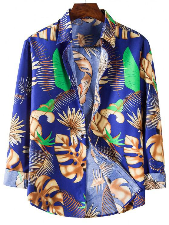 chic Tropical Leaves Print Long Sleeves Shirt - BLUEBERRY BLUE 3XL