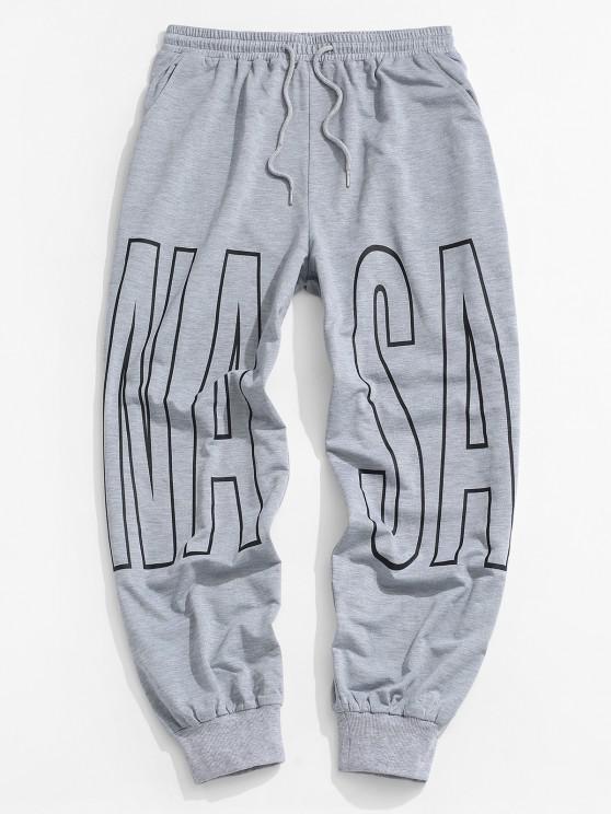 Letter Print Drawstring Sports Pants - رمادي فاتح M