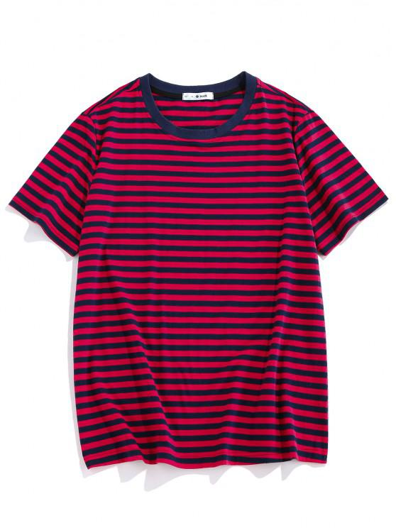 fancy ZAFUL Short Sleeve Striped Print T-shirt - RED S