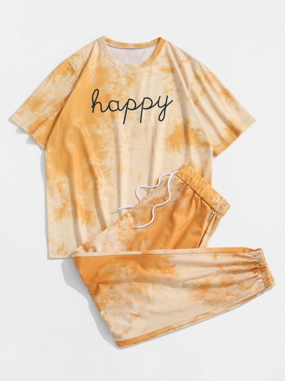 ladies Tie Dye Happy Print Tee And Pants Set - YELLOW S