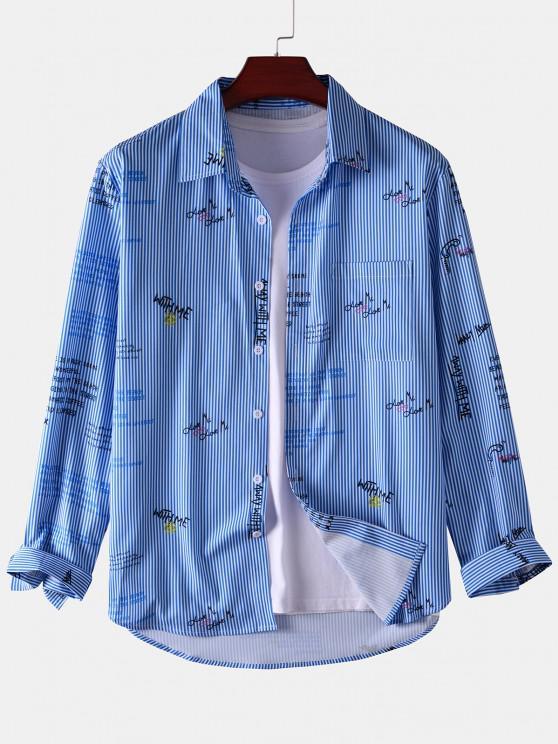 sale Stripe Letter Long Sleeve Pocket Shirt - BLUE S