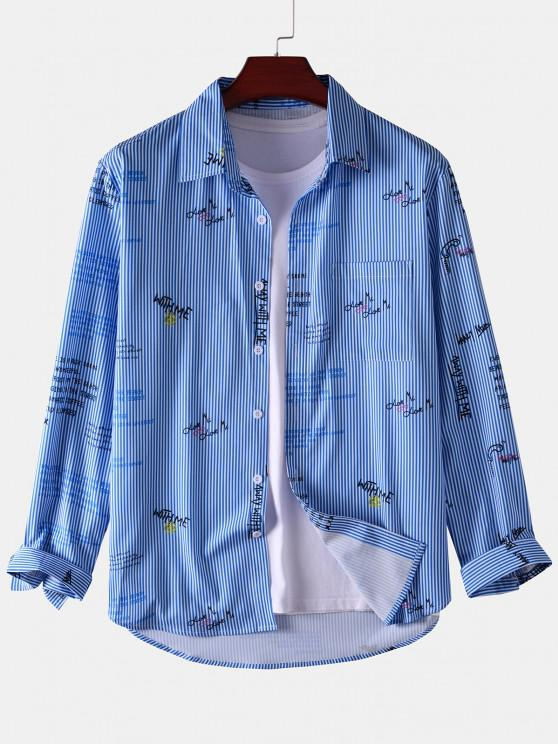 Stripe Letter Long Sleeve Pocket Shirt - أزرق 2XL