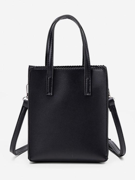 latest Zigzag Edge Solid Tote Bag - BLACK