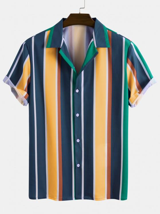 Contrast Stripe Short Sleeve Button Up Shirt - متعدد XL