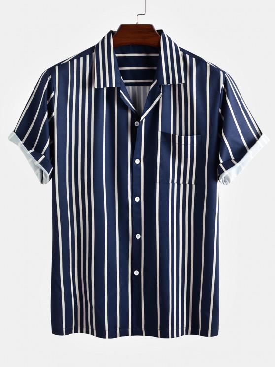 Kurzärmliges Hemd mit Kontraststreifen - Tiefes Blau XL