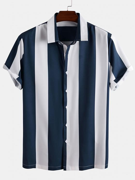 Kurzarm Farbblock Streifen Hemd - Blau 2XL