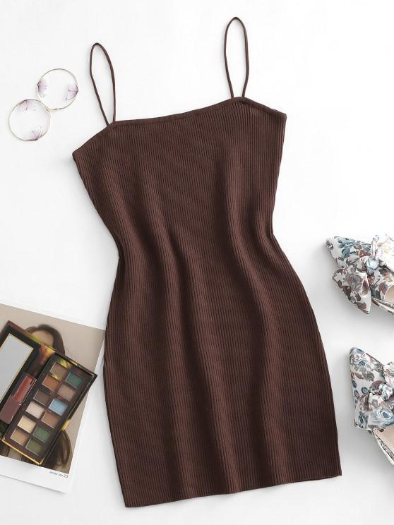 Cami Ribbed Slinky Mini Dress - قهوة L