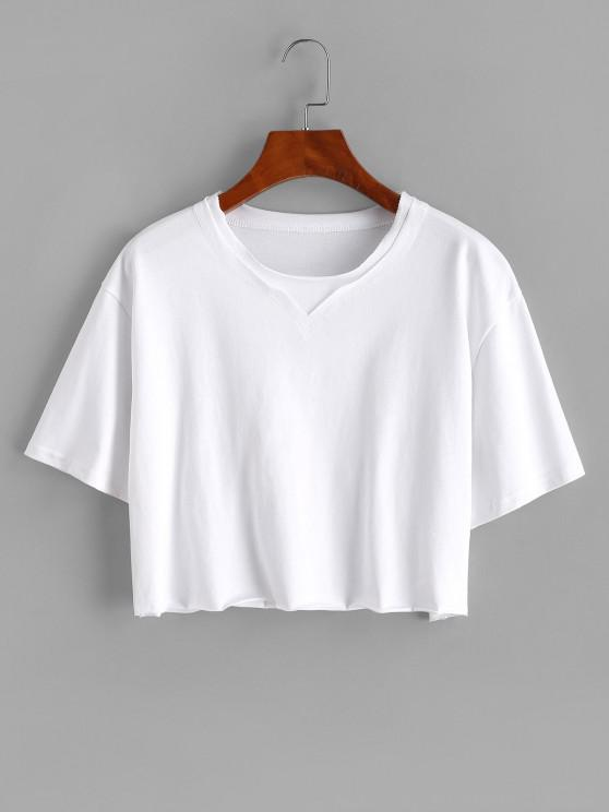 affordable Boxy Topstitching Raw Hem Crop Tee - WHITE S