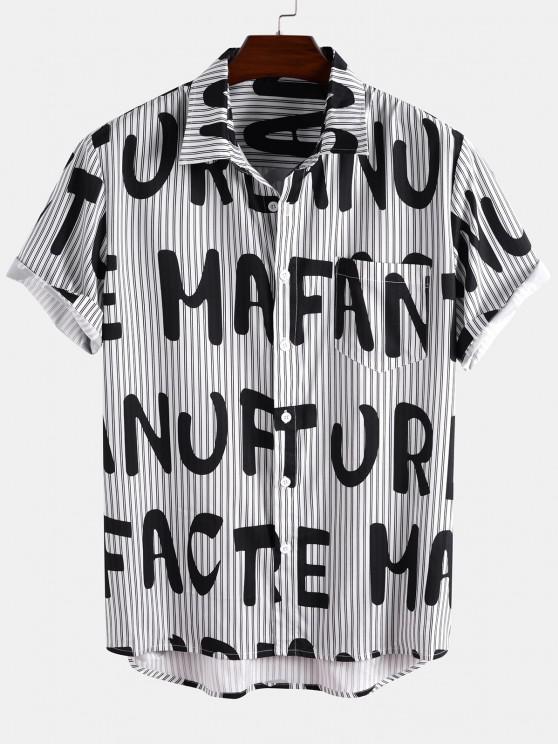 womens Short Sleeve Stripe Letter Shirt - BLACK XL