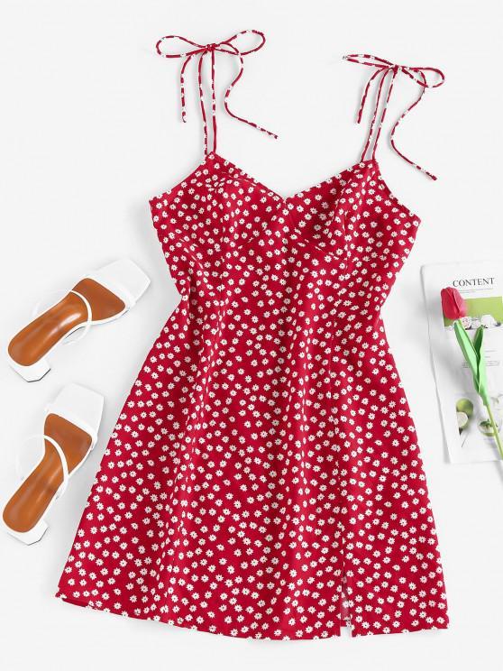 chic ZAFUL Ditsy Print Slit Tie Shoulder Mini Dress - RED M