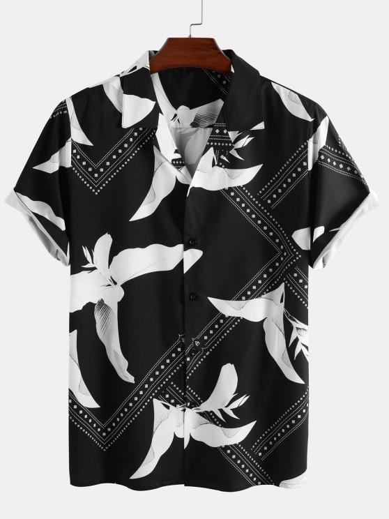 fancy Flower Bandana Print Short Sleeve Shirt - BLACK 2XL