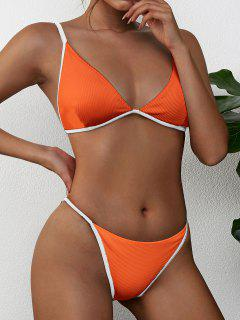 ZAFUL Ribbed Contrast Piping String Bikini Swimsuit - Pumpkin Orange S