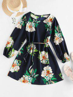 ZAFUL Flower Belted Long Sleeve Mini Dress - Deep Blue M