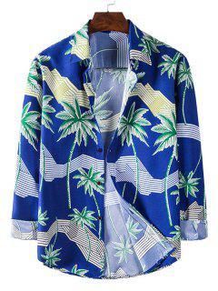 Long Sleeve Palm Tree Striped Print Shirt - Cobalt Blue 3xl