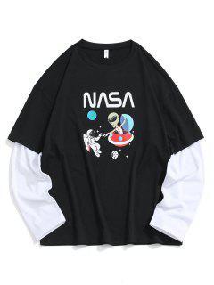 ET Astronaut Planet Faux Twinset T-shirt - Black Xs