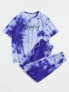 Tie Dye Happy Print Tee And Pants Set - Blue L