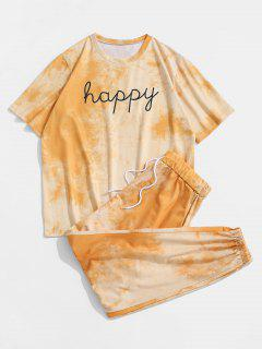 Tie Dye Happy Print Tee And Pants Set - Yellow S