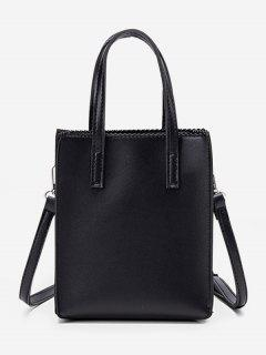 Zigzag Edge Solid Tote Bag - Black