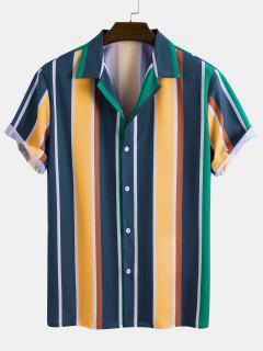 Contrast Stripe Short Sleeve Button Up Shirt - Multi S