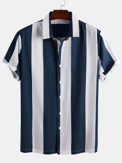 Camicia A Righe A Blocchi Di Colore Con Maniche Corte - Blu S