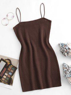 Cami Ribbed Slinky Mini Dress - Coffee M