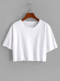 Boxy Topstitching Raw Hem Crop Tee - White M