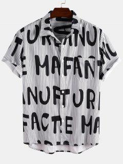 Short Sleeve Stripe Letter Shirt - Black 2xl