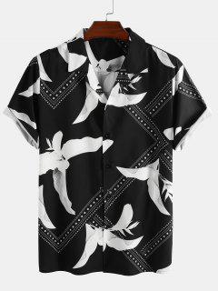 Camisa De Manga Corta De Estampado De Bandeau - Negro 2xl