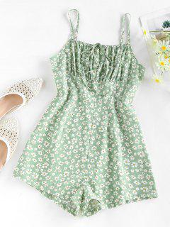 ZAFUL Ditsy Floral Ruched Tied Cami Romper - Light Green Xl