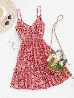 Ditsy Print Smocked Back Flounce Sundress - Red M
