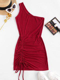 Mini Vestido Enrugado De Um Ombro Bodycon - Vermelho S