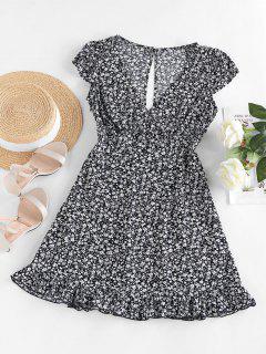ZAFUL Ditsy Print Cap Sleeve Ruffle Hem Mini Dress - Deep Blue M