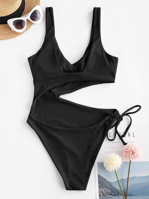 latest ZAFUL Ribbed Cutout Tie One-piece Swimsuit - BLACK L Mobile