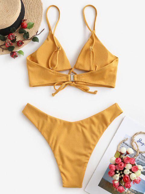 latest ZAFUL Crisscross Tie Front Ribbed Bikini Swimsuit - ORANGE GOLD M Mobile