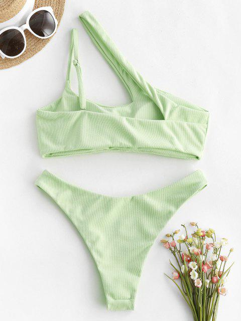 lady ZAFUL Cut Out High Cut One Shoulder Bikini Swimwear - GREEN S Mobile