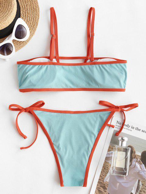 buy ZAFUL Ribbed Cutout Tie Binding Tanga Bikini Swimwear - CELESTE M Mobile