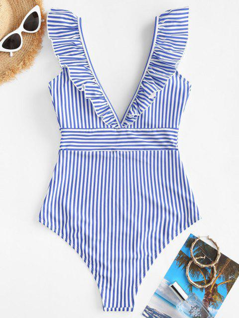 womens ZAFUL Ruffles Striped One-piece Swimsuit - LIGHT BLUE L Mobile