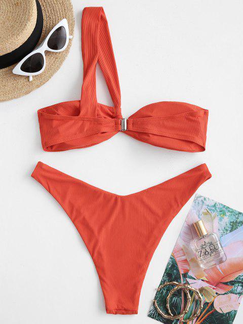 ZAFUL Maillot de Bain Bikini Côtelé Une Epaule à Jambe Haute - Orange L Mobile