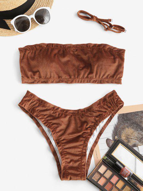 ZAFUL Costume da Bagno Bikini a Fascia in Velluto con Bordi a Costine - caffè S Mobile