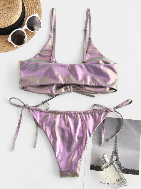 women's ZAFUL Cinched Metallic Vinyl String Bikini Swimwear - SILVER S Mobile
