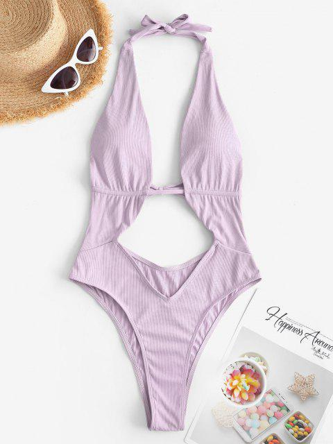 affordable ZAFUL Halter Ribbed Cut Out One-piece Swimsuit - LIGHT PURPLE S Mobile
