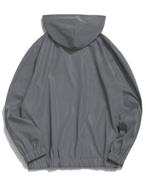 shop Luminous Dreamer Half Zipper Hoodie And Shorts Set - GRAY XL Mobile