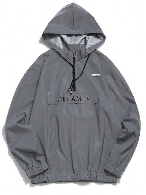 fancy Luminous Dreamer Half Zipper Hoodie And Shorts Set - GRAY 2XL Mobile